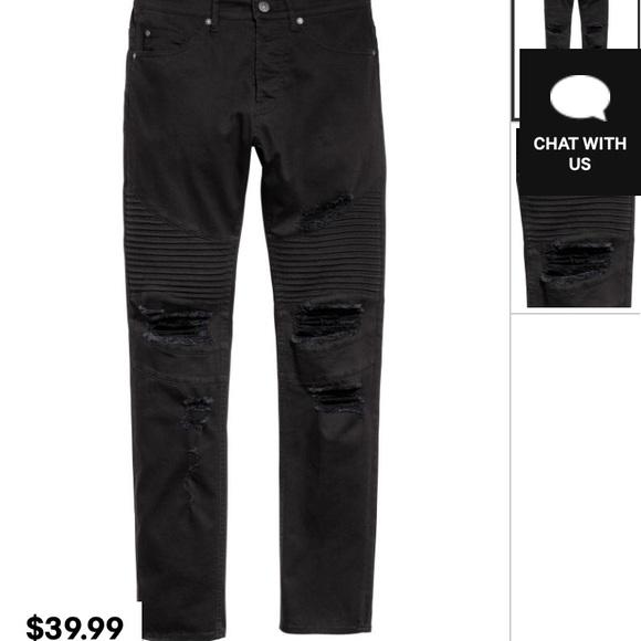 H M Jeans Mens Skinny Distressed Biker Pants Poshmark
